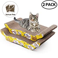 2 Pack Cat Scratcher Cardboard with Catnip, Recycle Corrugated Scratching Pad Reversible Replacement Scratcher Pad Lounge Sofa Bed