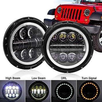 Safego 7 500w Led Scheinwerfer Frontscheinwerfer Für Motorrad J Eep Wrangler Jk Tj Halo Ring Angel Eyes 2 Stück 1 Jahr Garantie Auto