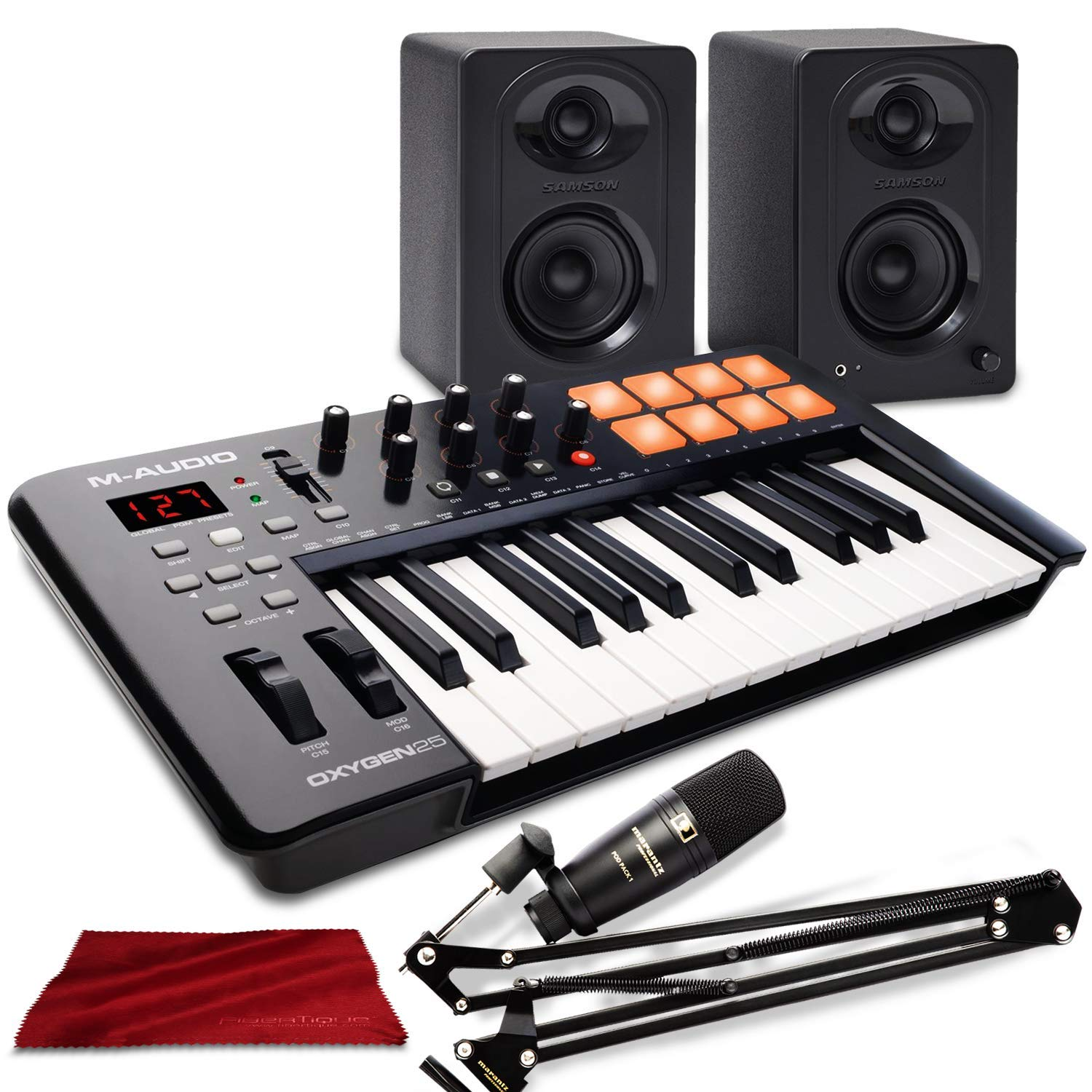 M-Audio Oxygen 25 MK IV USB Pad/MIDI Keyboard Controller with Marantz Professional Pod Pack 1 USB Microphone Kit and Deluxe Bundle by Photo Savings