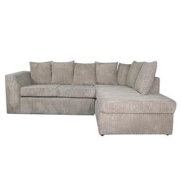 Sofá de esquina Dylan, de tela, Chenilla, gris, Mano derecha ...