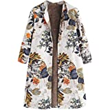 Logobeing Abrigo Invierno Mujer - Chaqueta de Punto Jersey Suéter Cardigans Cálido Outwear Botón Bolsillos de Impresión Floral Abrigos Tallas Grandes Vintage