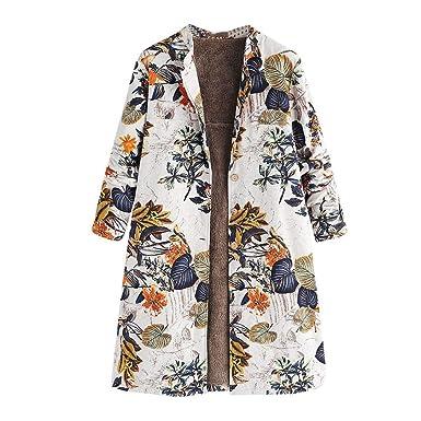 Linlink Mujeres Invierno Caliente Outwear botón de Estampado impresión Floral Bolsillos Vintage Chaqueta Extragrande Retro Oversize Abrigos: Amazon.es: Ropa ...
