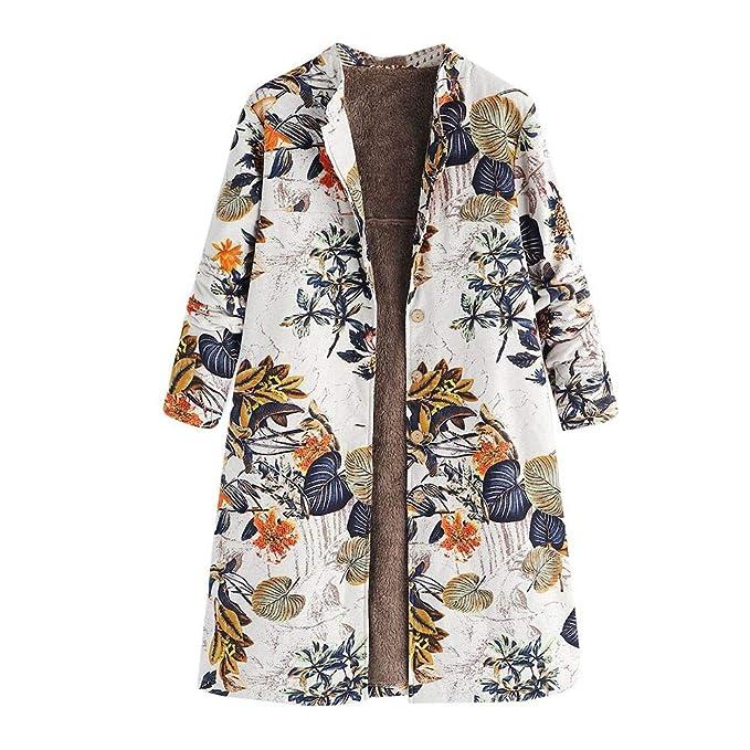 ... Amarillo Estampado Vintage, para Mujer Invierno Cálido Outwear Botón Bolsillos con Estampado Floral Abrigos Grandes: Amazon.es: Ropa y accesorios