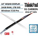 "2016 4th Generation Lenovo ThinkPad X1 Carbon 14"" Ultrabook Laptop, Intel Core i7-6600U, WQHD 2560x1440 IPS Anti-glare Display, 16GB RAM, 1TB SSD, Backlit Keyboard, Windows 7/10 Pro"