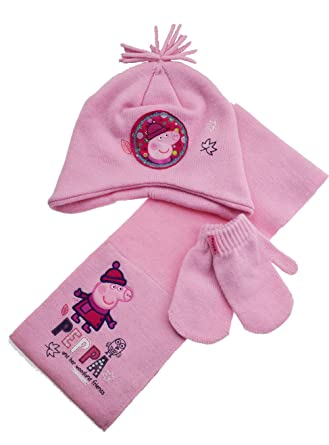 c75441e44919e Girls - 3 pc Peppa Pig Hat glove and Scarf set 1-3 Years  Pink    Amazon.co.uk  Clothing