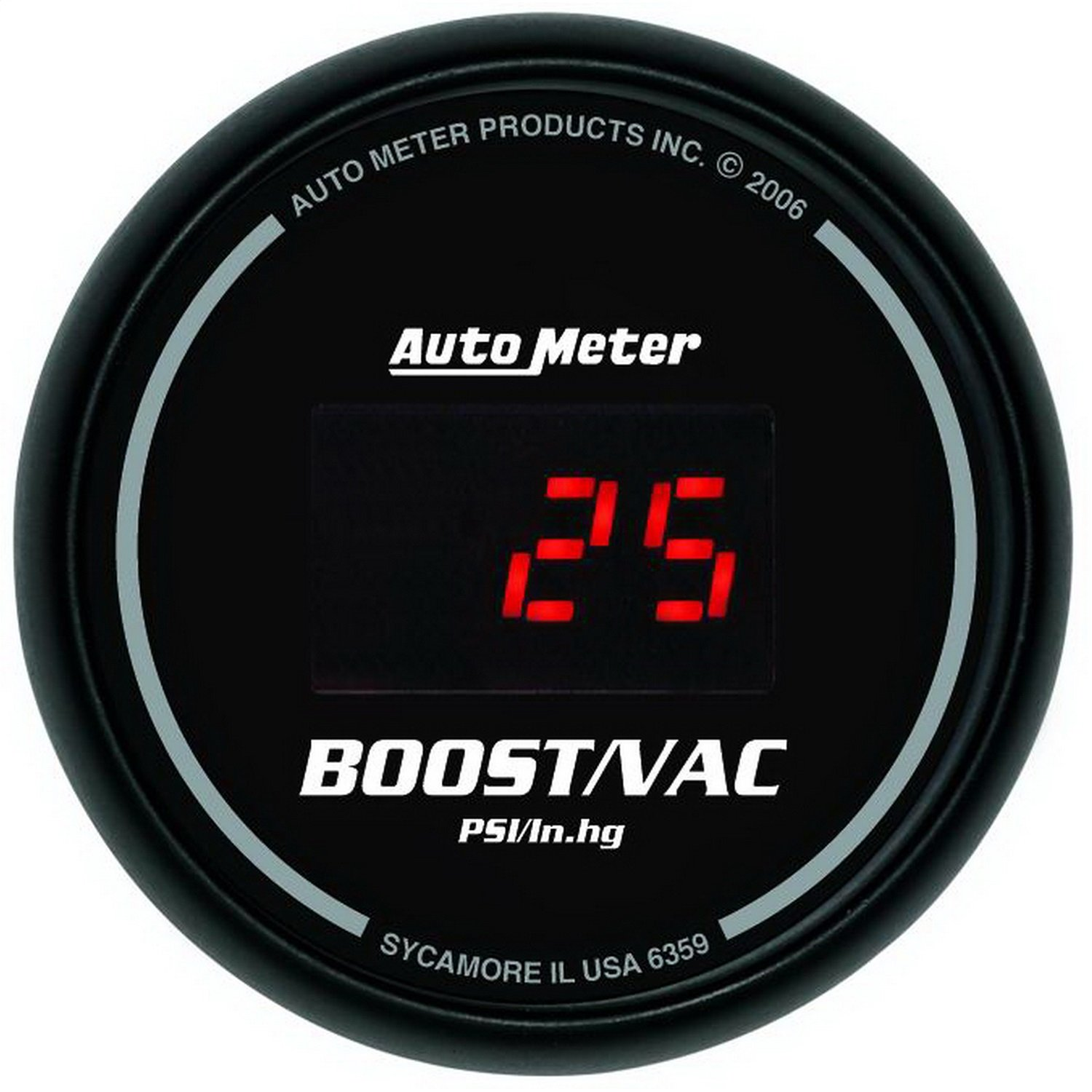 Auto Meter 6359 Sport Comp Digital 2-1/16'' 30 In Hg.-Vac./30 PSI Digital Vacuum/Boost Gauge by AUTO METER