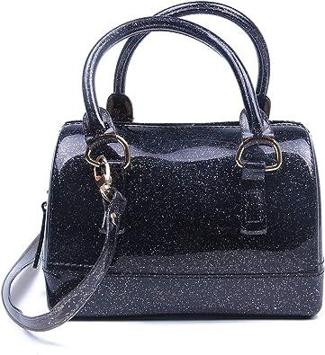 LUI SUI Women Jelly Pillow-shaped Shoulder Bag Summer Transparent Candy Color Tote Bag Handbag