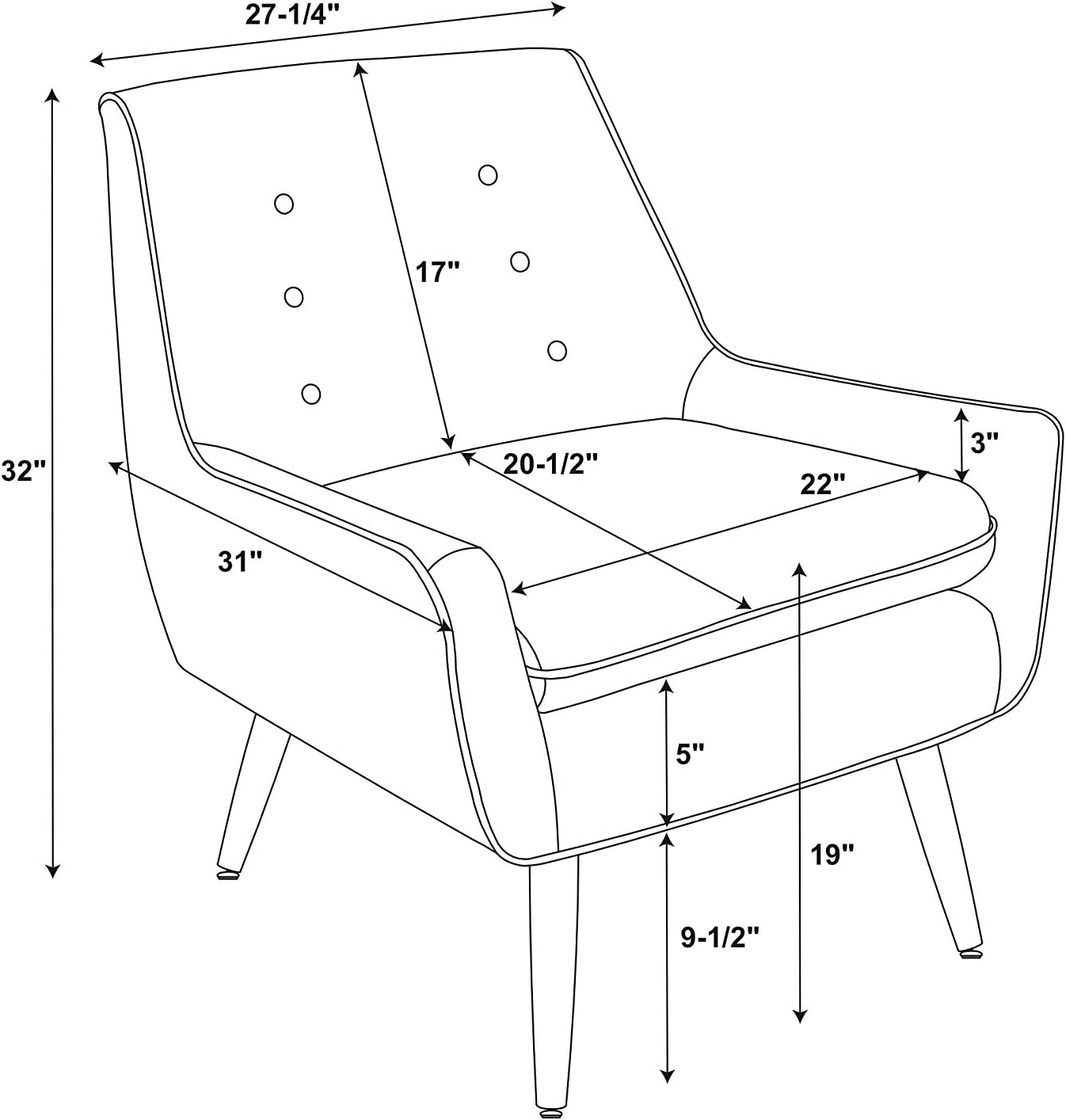 Linon AMZN0257 Accent Chair Standard Black