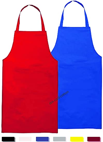 DM COOL COTTON - Kitchen Apron with Pocket - Pack of 2-100% Cotton - 28 x 20 inch - Assorted Colors and Designs