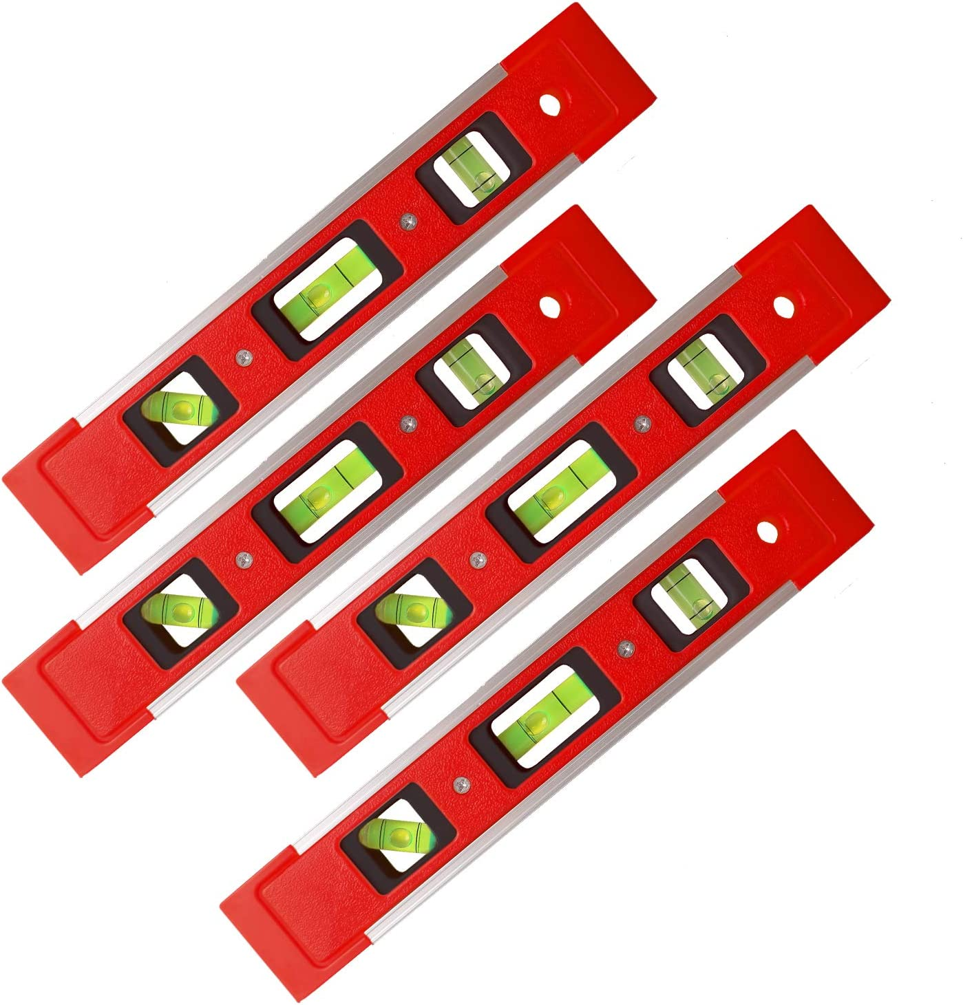 9 Inch Level with 45/°//90/°//180/° Bubbles Shock Resistant Level Tool for Measuring Torpedo Level 4 PCS