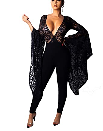 Sexy Lace Jumpsuits for Women Elegant V Neck Ruffle Long Sleeve Mesh Lace  Wrap Tops Bodycon bfe799e29e8f
