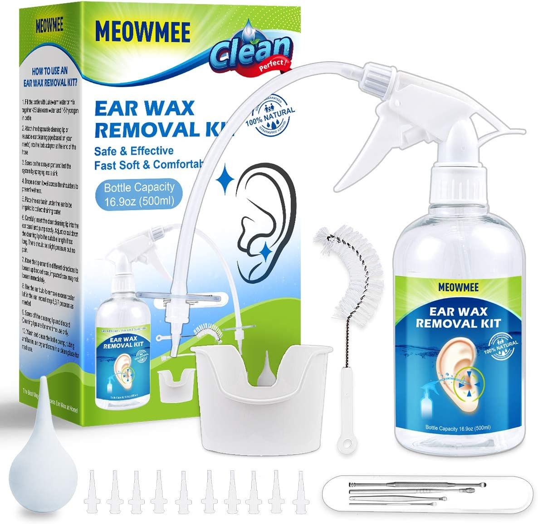 Limpiador de Oídos, Removedor de cera del oído, Kit de eliminación de cera de oído MEOWMEE Seguro Kit de lavado de bomba de limpieza de cerumen Sistema de jeringa de oreja para Adultos y Niños