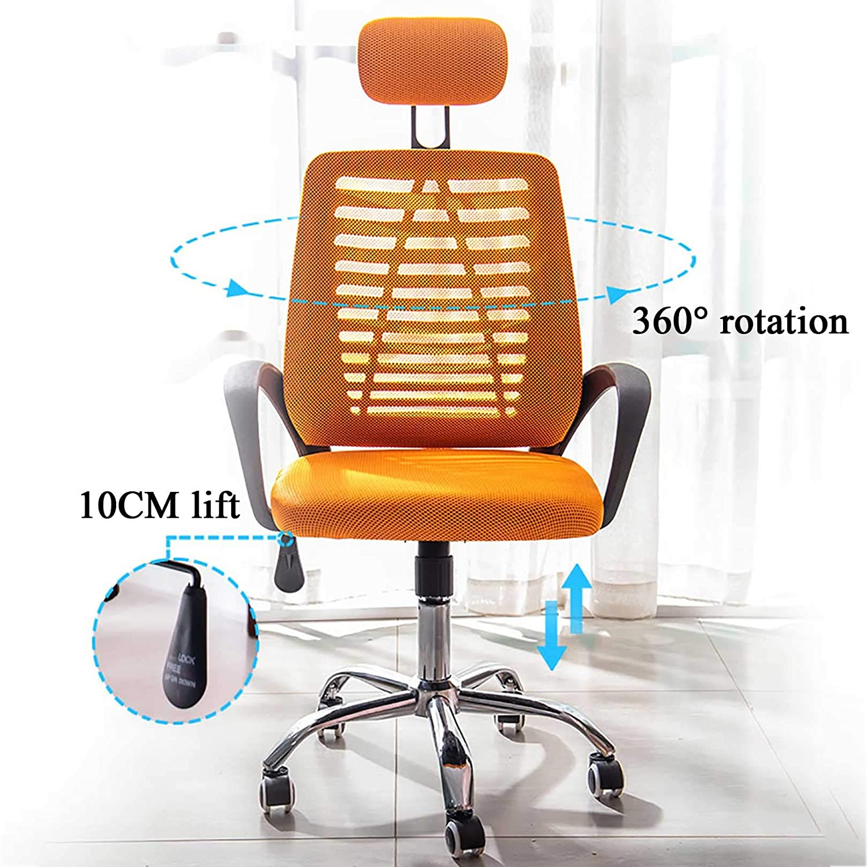 GAOPANG Ergonomisk kontorsstol med justerbart nackstöd, hög rygg nät skrivbordsstol med ländrygg stöd tjock sittkudde, 360° vridbar Svart