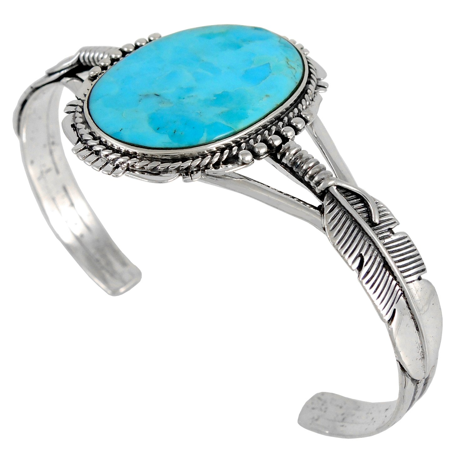 Turquoise Bracelet Sterling Silver 925 with Genuine Turquoise (Turquoise)