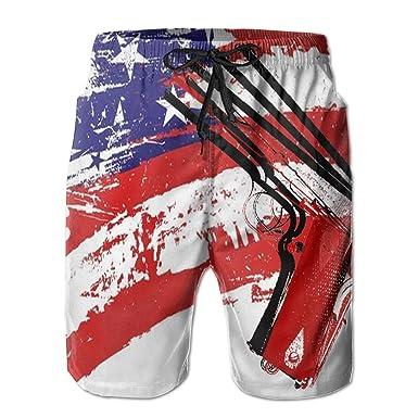 1de73e50ca97b ICE65SALT Mens USA Flag Gun Swim Trunks Polyester Casual Beach Cargo Shorts