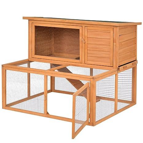 """Tangkula 44 """"gallinero conejera Madera 2 Puertas gallina pequeño Animal casa con al Aire"""