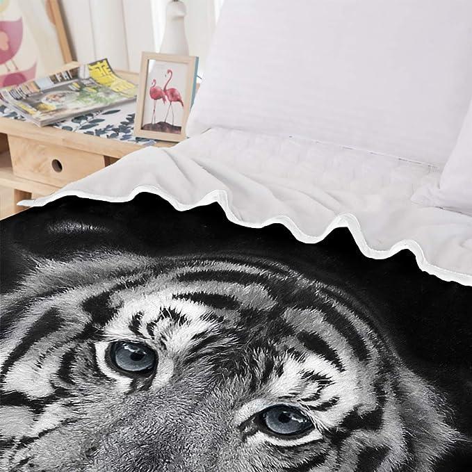 WONGS BEDDING Couverture pour Animaux imprim/ée Le Visage du Tigre c/ôt/é B Velours Blanc en Laine Un c/ôt/é Velours Cristal 130 /× 150 cm 100/% Fibres Impression num/érique