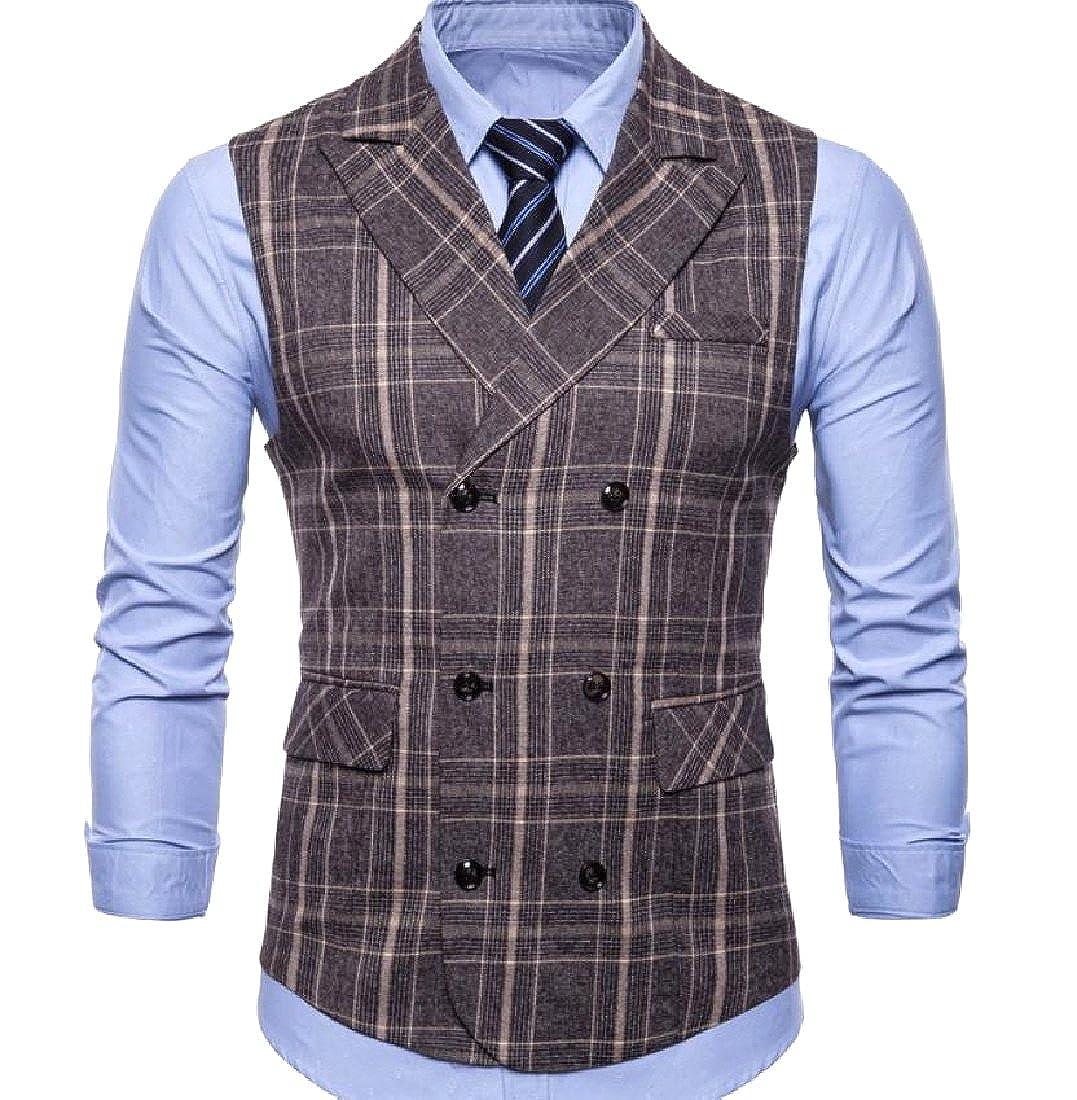 VITryst-Men Retrol Panelled Classic Fit Button Front Dress Waistcoat