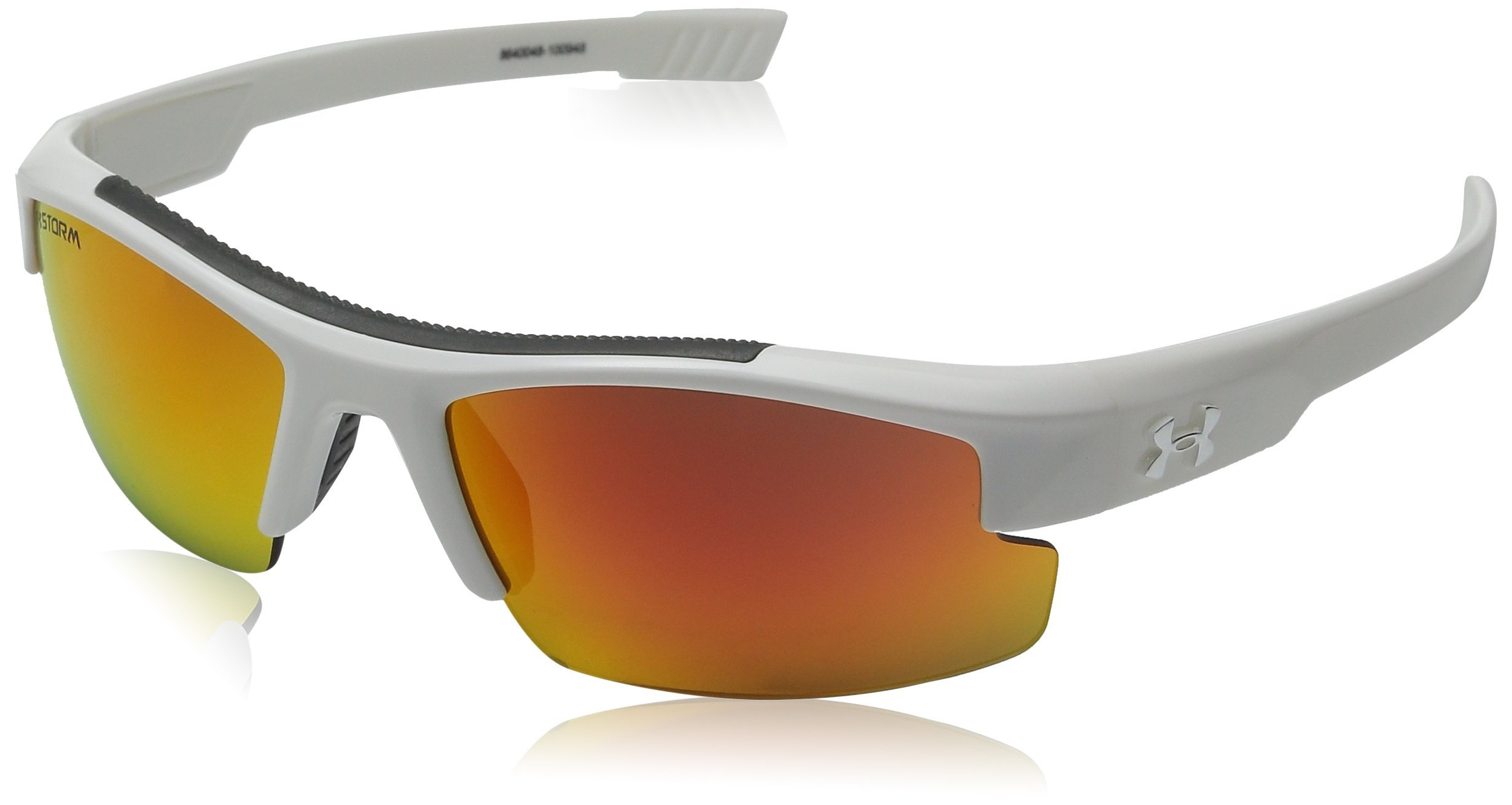 Under Armour Kids' Nitro L Storm Polarized Rectangular Sunglasses, White, 59 mm