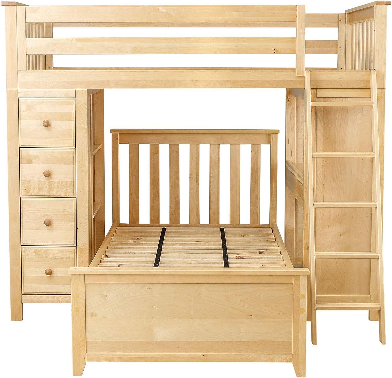 Amazon Com Plank Beam Combo Loft Bed Dresser Desk Over Twin