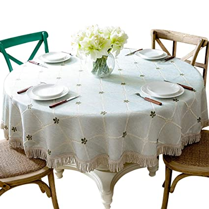 Large Round Table Cloth.Amazon Com Wynzyzb Cotton Linen Art American Lattice Round