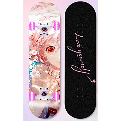 Surfing Street Highway Pink Girl In-game Character Skateboard Beginner Double Warped Glide Deck Teens Four-wheel Skateboard Student Dancing Skateboard With Light Up Wheels Kids U-shaped Profession Ska : Sports & Outdoors [5Bkhe0802865]