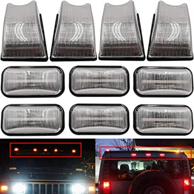 10pcs Hummer LED Cab Roof Clear Lens Light Kit For 2003 2004 2005 2006 2007 2008 2009 Hummer H2 /H2 SUT Dark Black Lens Amber/Red Led Light, Replace OEM Red/Amber Lens Halogen Lamps/Bulbs: Automotive