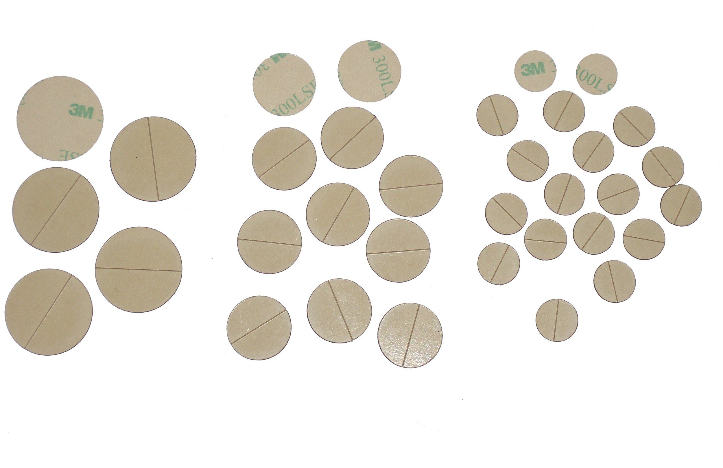 Disks/circles laser-cut from 3M 300LSE industrial-strength, ultra high-tack double-sided adhesive. 20 disks, 2.0'' diameter [disks-2.0-20]