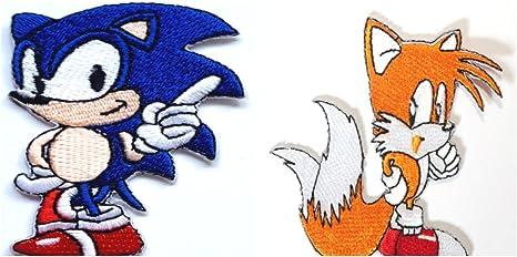 Sonic y Tails parche de hierro bordado en insignia bolsa de retro ...