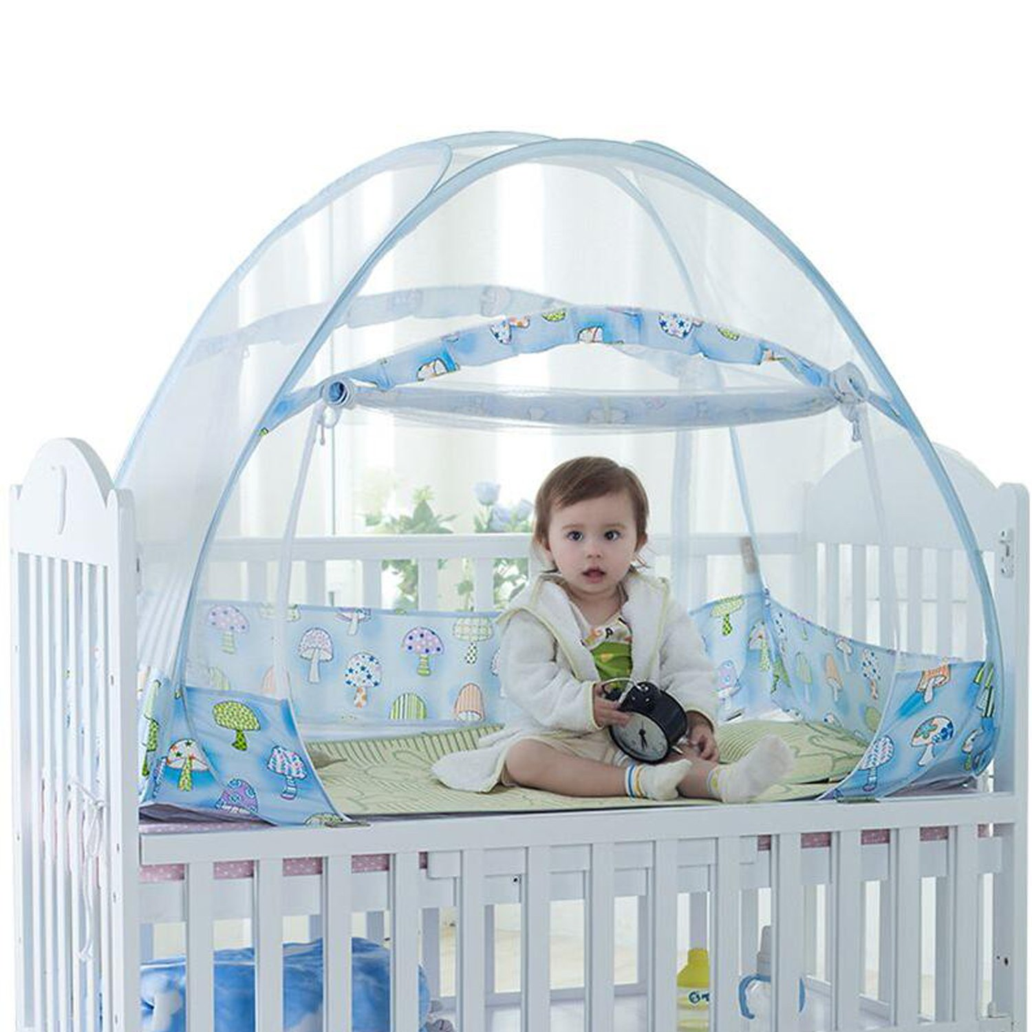 Baby Crib Tent Safety Net Pop Up Canopy Cover - Foldable Baby Bed Mosquito Net Tent Kids Nursery Crib Canopy Netting