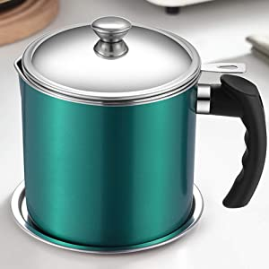 Oil Pot with Strainer 1.3L Bacon Grease Container with Fine Mesh Strainer Frying Oil Filter withAnti-scalding Handle and Plate Oil Storage Pot Can for Cooking Oil, Frying Oil Green
