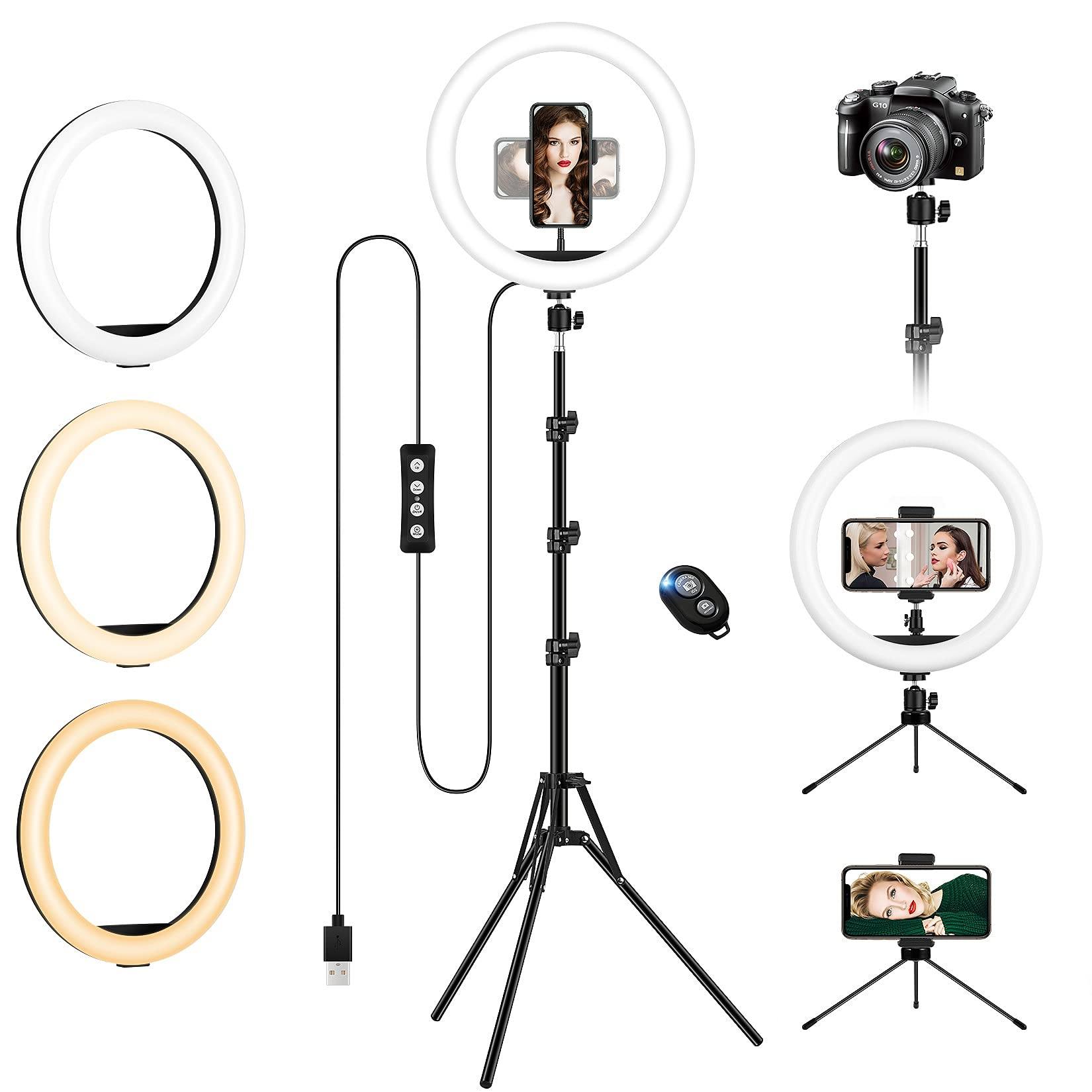 "Ring Light with Tripod Stand & Phone Holder Tall, 12.6 inch Selfie Ring Lights for Makeup, Live Streaming, Tiktok, YouTube Video, Dimmable LED Circle Light with Remote (Total Height: 187 cm/73.6"")"