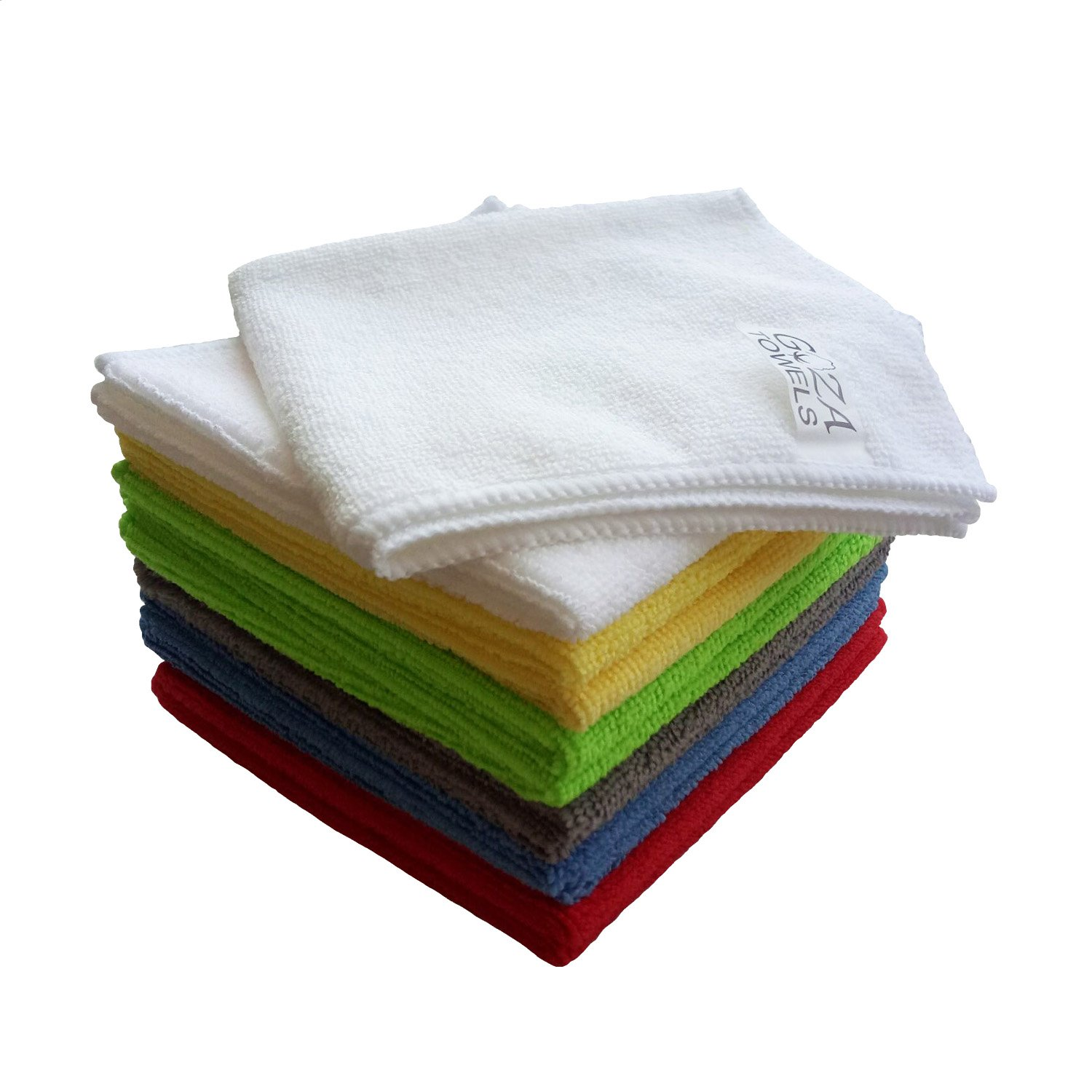 Goza Towels Microfiber Towel Cleaning Cloths Professional Grade All-Purpose 12''x12'' (Multi-color, 12 Pack)