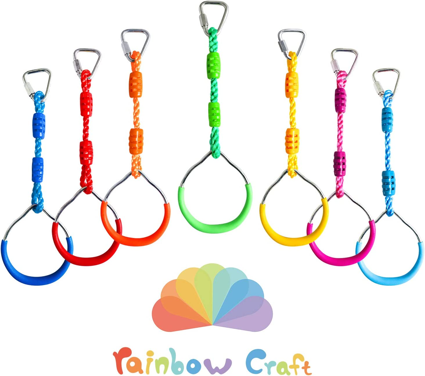 Rainbow Craft Colorful Ninjaline Rings - Gymnastic Rings, Ninja Rings, Swing Bar Rings, Monkey Rings for Backyard Ninja Obstacle Accessories - 7pcs Pack: Toys & Games