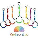 Rainbow Craft 7-Pack Colorful Ninja Rings - Gymnastic Rings, Swing Bar Rings, Monkey Rings for Backyard Ninja Warrior Obstacl