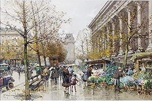 30 Famous Paris Paintings - $50-$1000 Hand Painted by Academic Artists - Paris Le Marche aux Fleurs Eugene Galien - Art Oil Painting on Canvas -Size03
