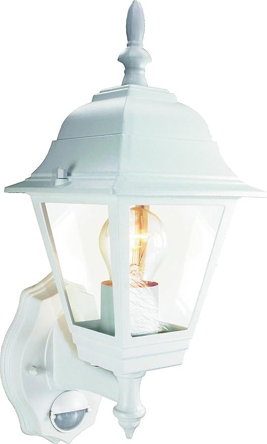 Elro ES94W - Lámpara de pared con 4 cristales y detector de movimiento , para bombilla GLS 23 W o 100 W, color blanco: Amazon.es: Iluminación