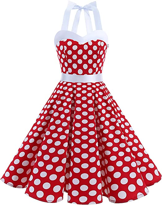 TALLA S. DRESSTELLS® Halter 50s Rockabilly Polka Dots Audrey Dress Retro Cocktail Dress Red White Dot