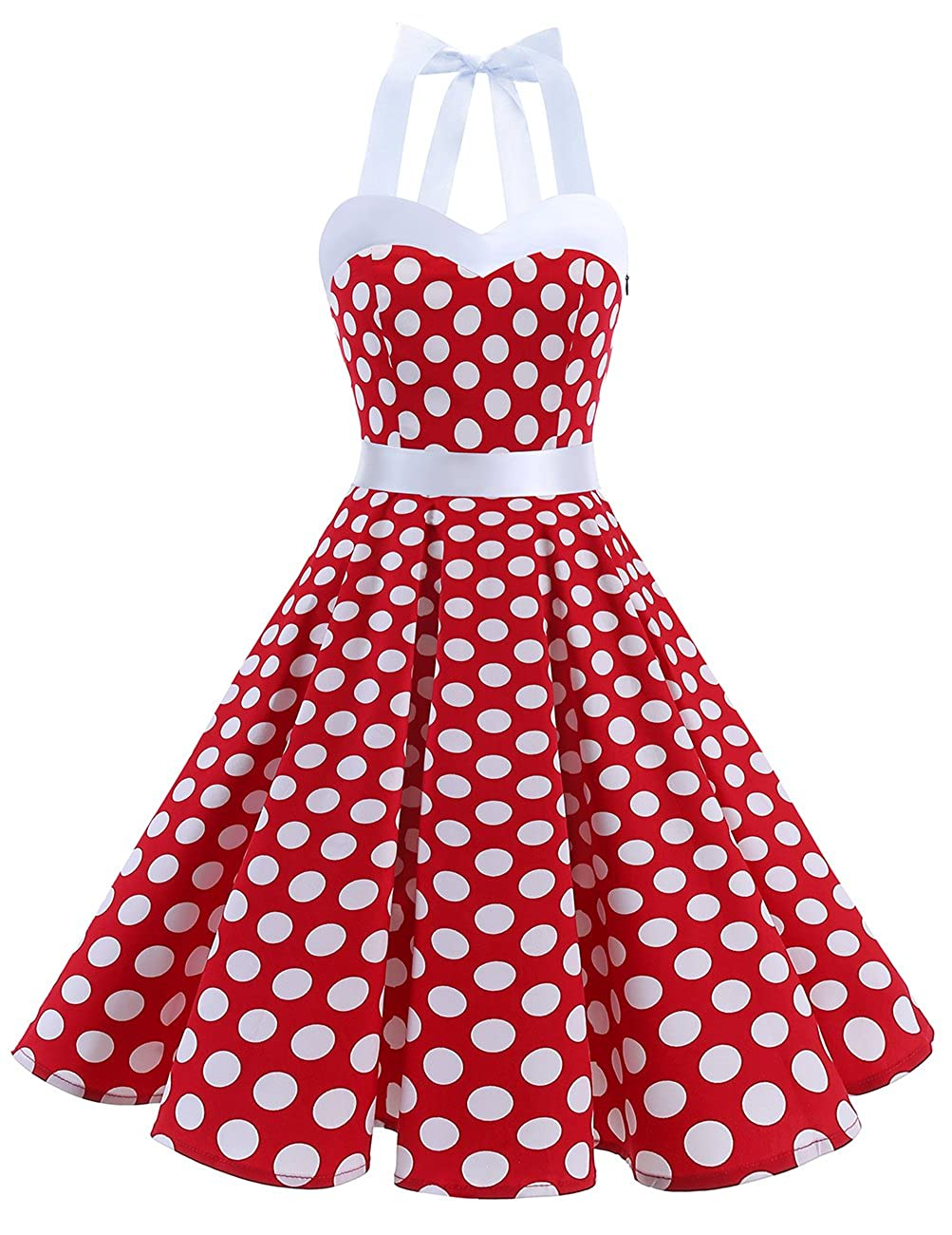 TALLA XS. Dresstells® Halter 50s Rockabilly Polka Dots Audrey Dress Retro Cocktail Dress Red White Dot XS