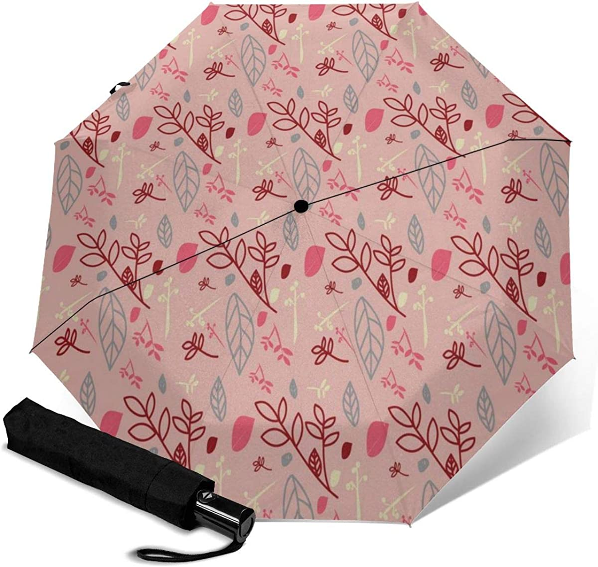 Branches Leaves Pink Wallpaper Compact Travel Umbrella Windproof Reinforced Canopy 8 Ribs Umbrella Auto Open And Close Button Personalized