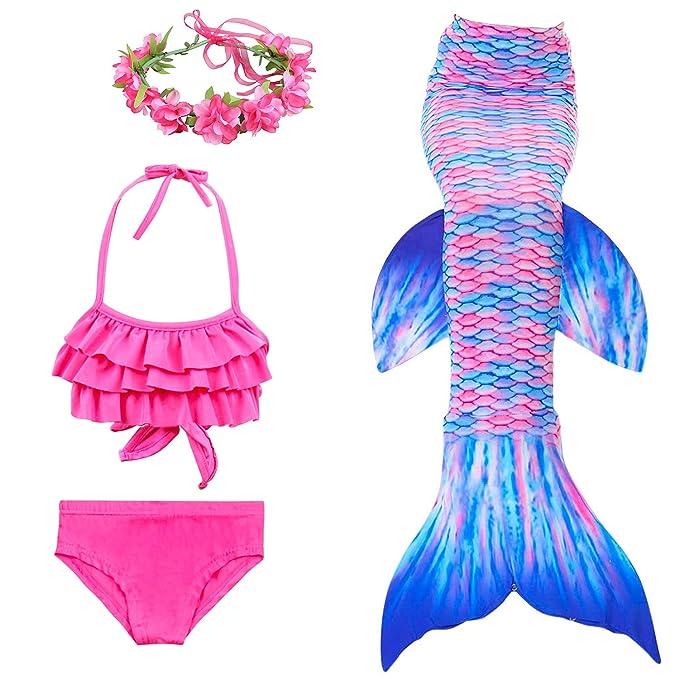 Traje de baño para Nadar con de natación para niños con Cola de Sirena para niñas de 3 Piezas