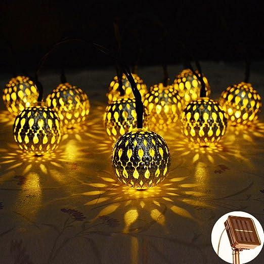 Solar Luz Cadena, kondisco Solar Luz Cadena resistente al agua Jardín Exterior Navidad decoración para jardín, terraza, cumpleaños, Hogar, Fiesta, Árbol de Navidad, Navidad Party.: Amazon.es: Iluminación