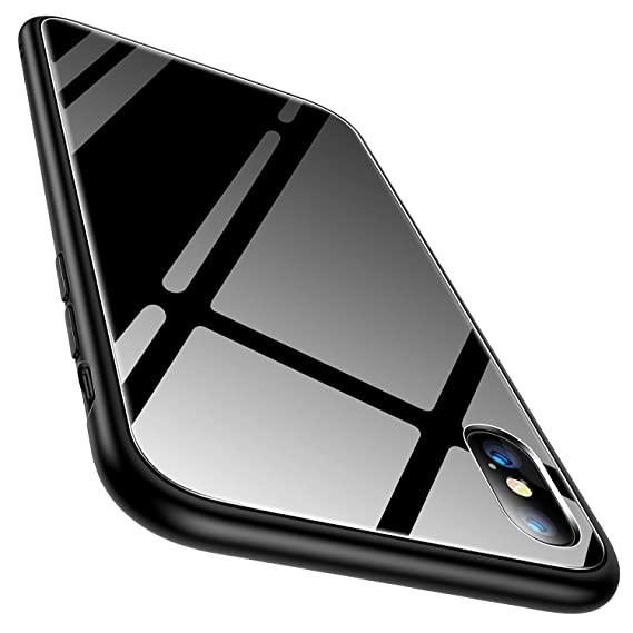 new arrival 07cd5 b1fb9 iPhone X Case, TORRAS iPhone X Tempered Glass Hard Back Full Protective  Cover Case with Soft Bumper for Apple iPhone X, Black