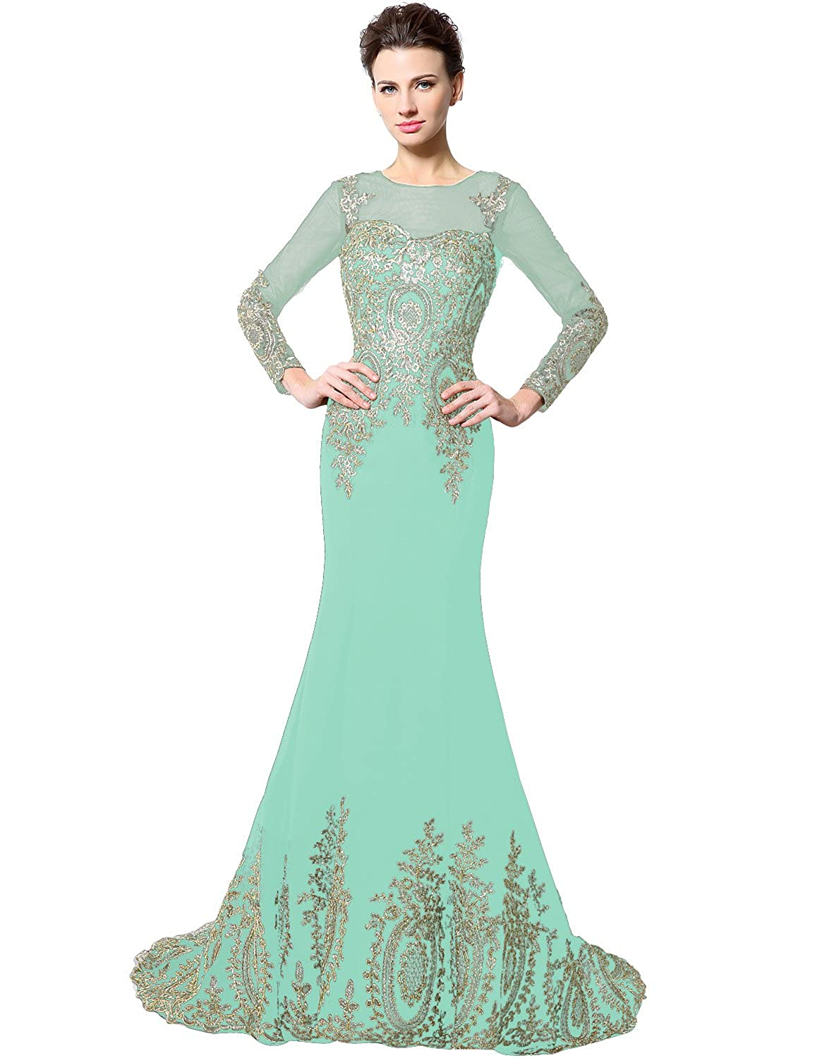 040mint Sarahbridal Women's Mermaid Evening Ball Dress 2019 Formal Long Prom Gowns