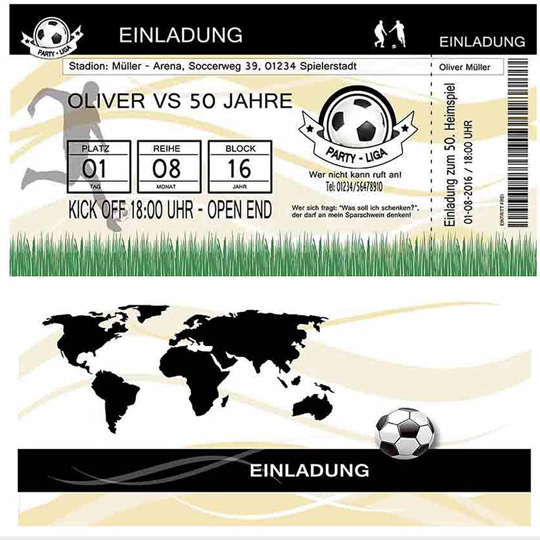 50 Einladungskarten zum Geburtstag Fußball Fussball-Ticket ...