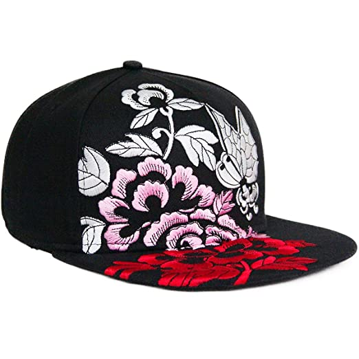 864d7e37963 Image Unavailable. Image not available for. Color  REDSHARKS Unisex Flat  Bill Visor Hat Hip Hop Cap Embroidery Butterfly-Flower