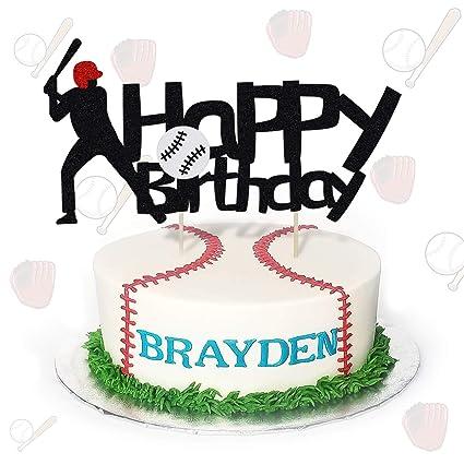 Strange Kapokku Black Both Sides Baseball Happy Birthday Cake Topper Birthday Cards Printable Inklcafe Filternl
