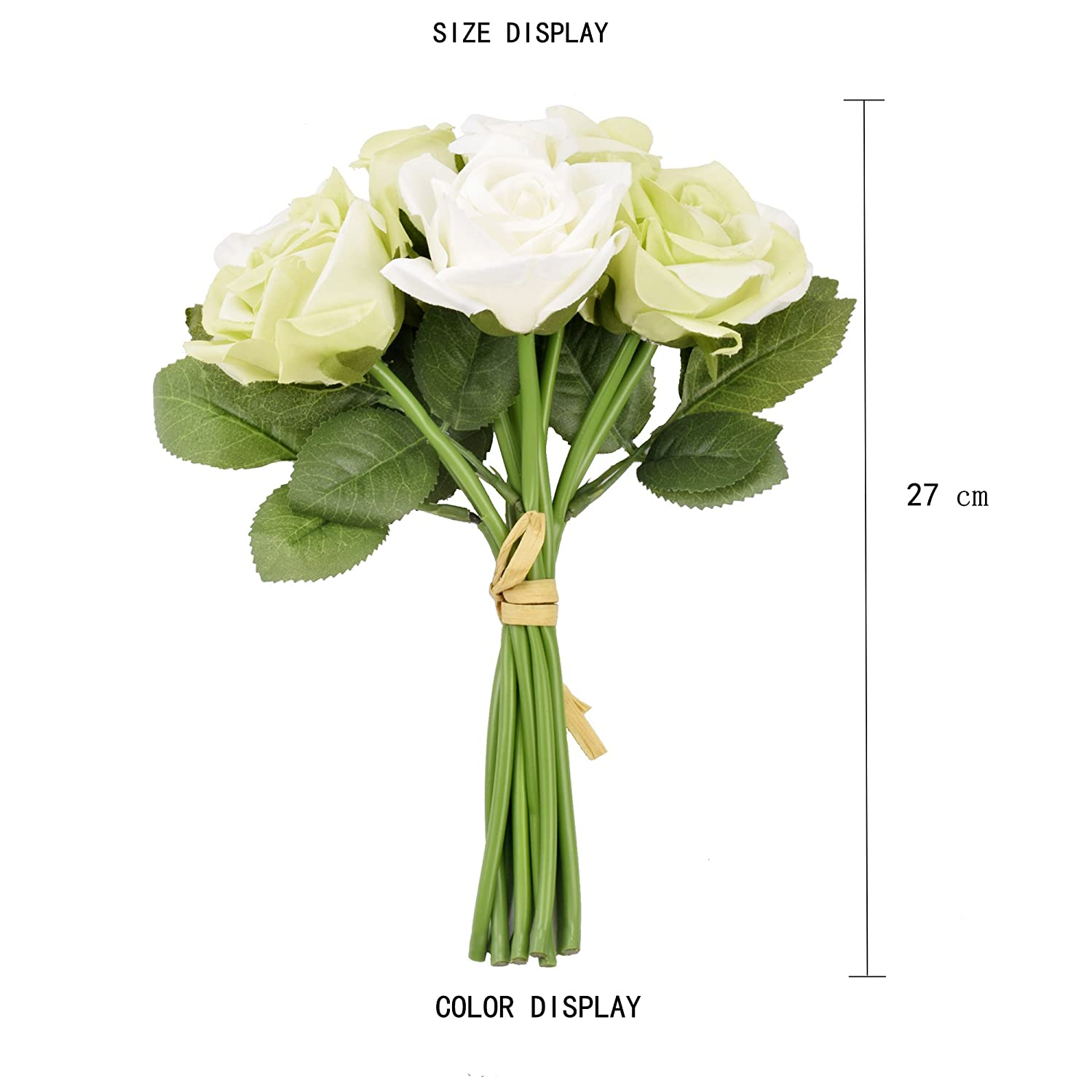 Famibay Fake Rose Flowers 2 Bouquets 18 Heads Silk Rose Artificial