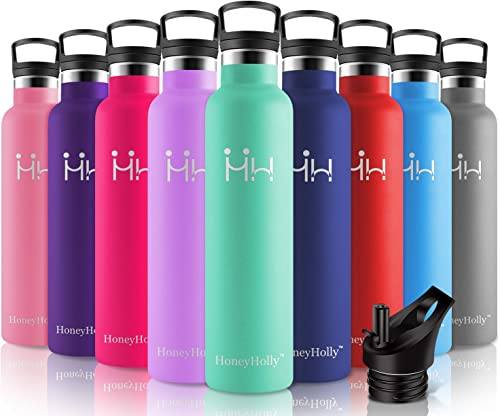 HoneyHolly Stainless Steel Vacuum Insulated Water Bottle,Reusable Bpa Free Metal Sport Bottle