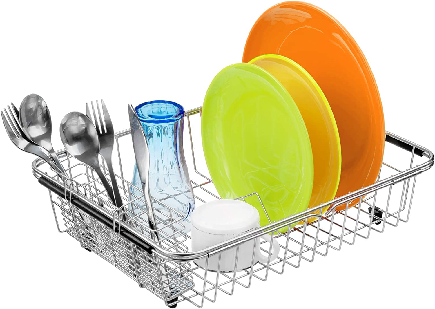 MONOKIT Dish Drying Rack in Sink, Expandable Dish Drainers Rack for kitchen sink with Utensil Holder Stainless Steel